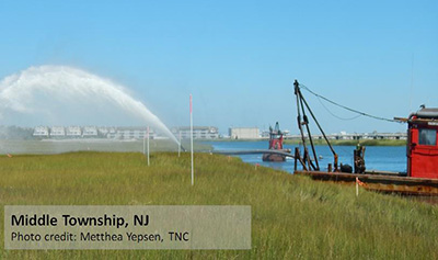 Thin spreading of sediments, as in this New Jersey marsh, can help wetlands adapt to rising sea levels. Credit: Matthea Yepsen, TNC